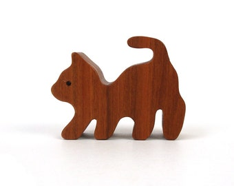 Wood Cat Figurine Miniature Wooden Toy Cat Waldorf Wood Farm Animal Toys Natural Child's Toy Cherry