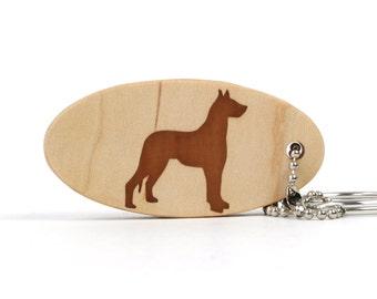 Wood Great Dane Key Chain Wooden Pet Accessories Dog Breed Key Ring Great Dane Key Ring Scroll Saw Wood Dog Key Fob Cherry