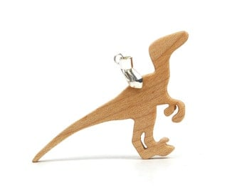 Wood Velociraptor Dinosaur Pendant Necklace Natural History Science Paleontology Jewelry Hand Cut Scroll Saw Maple