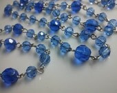 36 Inches Sky Blue Glass  Faceted Round  Beads  Rosary Chain with Silver Plated  Metal Loop Links. Mixed Sized Glass Bead Chain