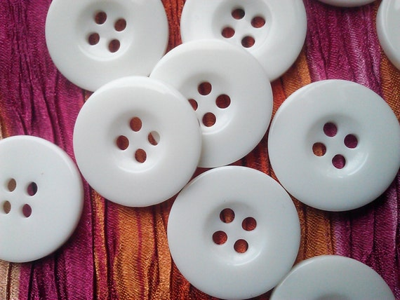 Large 20 mm  White  Round Plastic Buttons. 4 Hole. 24 Pieces,.  Limited Supply.
