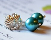 NEW Child's Pearl Earrings, Seashell Ear Posts, Sea Shell, Real Freshwater, Teal, Sterling Silver, Flower Girl Jewelry, Beach Wedding