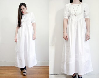Vintage Floral Mexican Embroidered Wedding Dress Hippie Dress Ethnic Floral Cotton Dress 70s