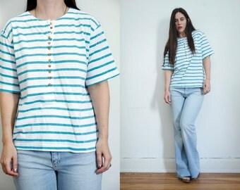 Vintage Sripe Nautical Cotton Oversize Boyfriend T Shirt