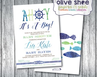 Nautical Baby Shower Invitation | Anchor, Sea Theme | Boys | Fish | Ocean | Green | Custom Order | Printable or Printed | Front and Back
