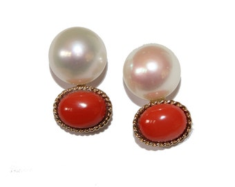 Vintage Pearl and Coral 14kt Gold Earrings - Elegant button Earrings Post earrings white pearl red coral jewelry