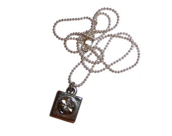 Silver Square Necklace - vintage rhinestone silver jewelry