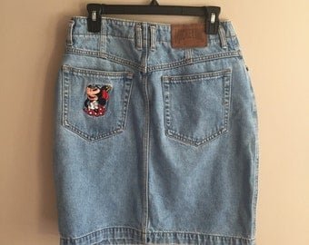 Vintage Minnie Mouse Short Denim Skirt - Size Large - 100% Cotton - Disney