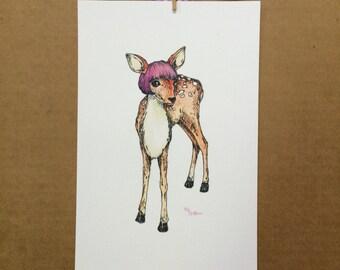 Watercolor/Ink-Animal-Deer-Phyllis, the Deer in the Purple Wig