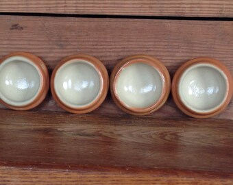 Vintage French Pottery Salts or Small Finger Bowls with Terra Cotta Glaze Set of 4