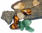 Prosperity and Wealth Crystal Kit  Pyrite Aventurine Citrine earthegy