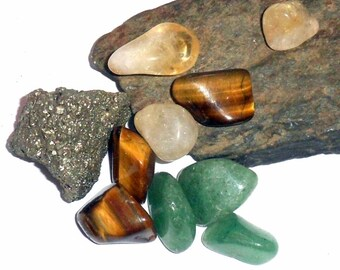 Prosperity and Wealth Crystal Kit  Pyrite Aventurine Citrine earthegy