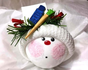 ARTIST CHRISTMAS Ornaments Paper Paint Tube Brush Personalized Hand Painted Handmade Themed by Townsend Custom Gifts - BR