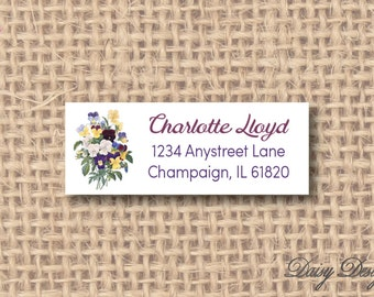 Return Address Labels - Bouquet of Pansies - Pansy Bunch - 120 self-sticking labels