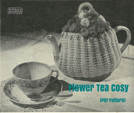 Knitted Teacosy Pattern with Crochet Flowers ( PDF Pattern)