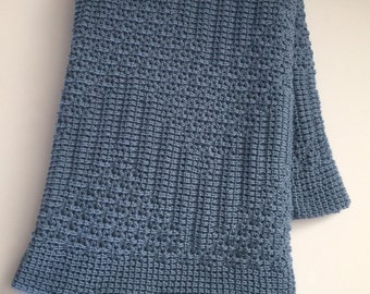 Knitted Afghan,Throw Blanket,  Country Blue