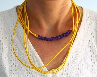 Simple yellow necklace,multilayer necklace, simple fabric necklace, cord necklace, bohemian chic jewelry