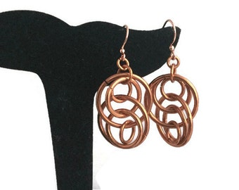Copper Illusion Earrings, Illusion Jewelry, Copper Jewelry, Copper Earrings, Windchime Earrings, Gift for Her, Metal Jewelry, Spin Earrings