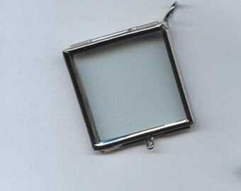 Silver Glass Hinged Pendant Locket
