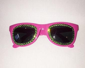 PINK AND GREEN Non Prescription Swarovski Sunglasses