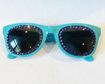 PURPLE AND BLUE Non Prescription Swarovski Sunglasses