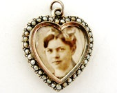 RESERVED for SG Antique seed pearl heart locket in 900 silver