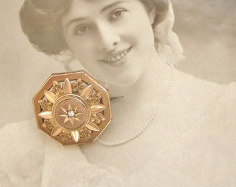 French antique pink gold fill brooch with seed pearl