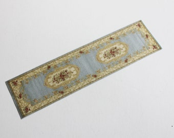 Dollhouse Miniature Carpet Rug Runner Pale Blue Aged Look 1:12 Scale