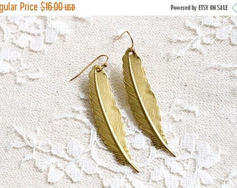 FALL SALE Gold tone metal feather earrings, boho jewelry, Bohemian Lady
