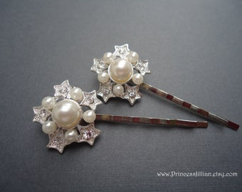 Rhinestones and pearl hair pins - White pearls and stars rhinestones silver bridal wedding jeweled embellish decorative hair accessories
