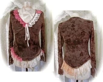 SALE Brown Gypsy Top, asymmetrical hemline sleeves, bohemian top, boho gypsy top, MEDIUM
