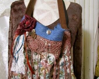 SALE Denim Tapestry Bag, boho bag, small handbag size, handmade OOAK fabric bag, upcycled blue jean shoulder bag, SMALL