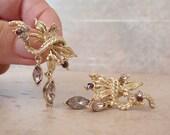 Purple Rhinestone Earrings Coro Dangles Lavender Leaf Clip On Vintage 080213PS