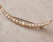 Crescent Moon Brooch Pin Pearls Gold Tone Vintage 112014RC