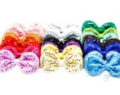 Sequin Puffy Bows 3-1/2 inches - Sequin Bow Headband, Sequin Hair Bow, Bows for Babies, Bows for Girls, Bows for Baby Girls, Bows Baby