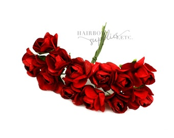 Dark Red Paper Flowers 3/4 inch - Crown Flower, Headband Flowers, Paper Flower, Wedding Paper Flowers, Paper Flowers with Stems