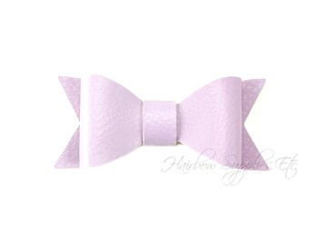 Lavender Faux Leather Bows 2-1/2 inches- Lavender Leather Bow, Purple Leather Hair, Light Purple Faux Leather, Lavender Leather Bow Headband