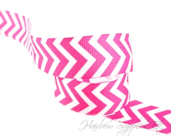 NEW Fuchsia Chevron Ribbon 1-1/2 inch - Choose from 1-10 yards Grosgrain Ribbon - Hairbow Supplies, Etc.