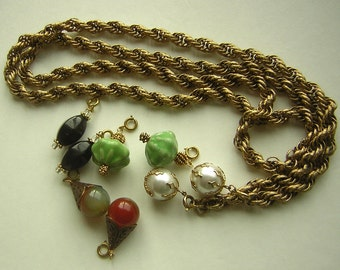 Necklace Gold Rope Lariat Triple Chain Long Flapper with set of 4 Style of Baubles VERSATILE & Adjustable - Vintage 60s