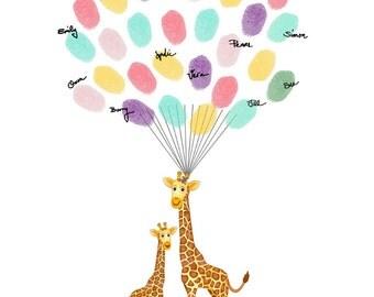 Baby Shower Guest Book Alternative, Fingerprint Tree with Giraffe, Baby Shower Thumbprint Guestbook, Baby Birthday - DIGITAL PRINTABLE JPEG