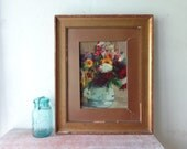 VIntage Gold Framed Floral Painting - Rustic Charm