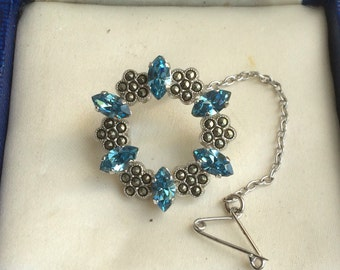 Vintage Blue Crystal and Marcasite Ring Brooch