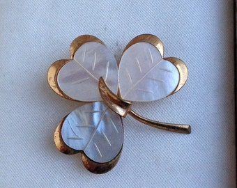 Vintage Mother of Pearl Shamrock Clover Brooch