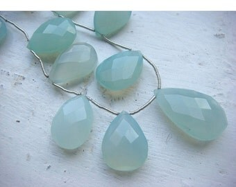 45% ON SALE Chalcedony - Chalcedony Briolettes - 24x17mm to 19x14mm Pear Shaped Faceted Briolettes - 6 Pieces