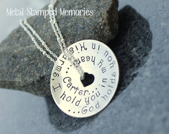 Hand Stamped Necklace GOD HOLDS YOU in His Arms, I Hold You in My Heart Loss of Baby, Parent, or Loved One