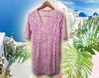 90s Pastel Goth Zebra Stripe Lavendar White V Neck Easy Fit Office Dress size Medium