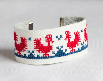 Leather bracelet with Ethnic Slavic embroidery br011