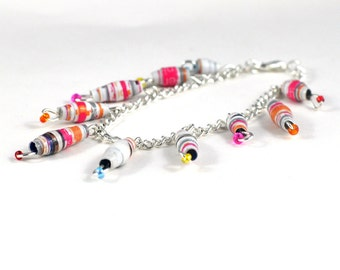 Handmade Charm Bracelet Bright Colourful Paper Beads Recycled Vegan Jewellery Makeforgood