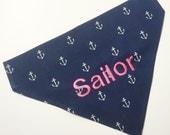 Monogrammed Dog Bandanna - Navy Blue and Pink Anchors - Personalized Dog Bandana - Monogrammed Dog Scarf -Nautical Dog Bandana Pink and Navy