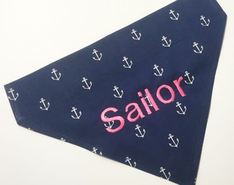 Monogrammed Dog Bandanna - Navy Blue and Pink Anchors - Personalized Dog Bandana - Monogrammed Dog Scarf -Nautical Dog Bandana Pink and Navy